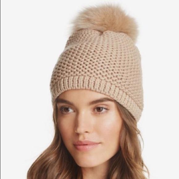 5a3eec1c24e Kyi Kyi Slouchy Hat with Fox Fur Pom-Pom (BEIGE)